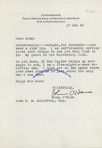 Butterfield 8 Author John O'Hara Writes A Fan Letter To TV Host John McCaffery