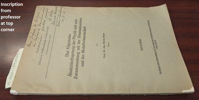 Berlin: Verlag von Julius Springer. First Edition. Softcover. 8vo, paged -388, illustrated, graphs; ...