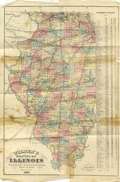 Chicago: Cobb, Pritchard & Co.. Fair. 1866. Softcover. A very scarce miniature pocket map. Map is lo...