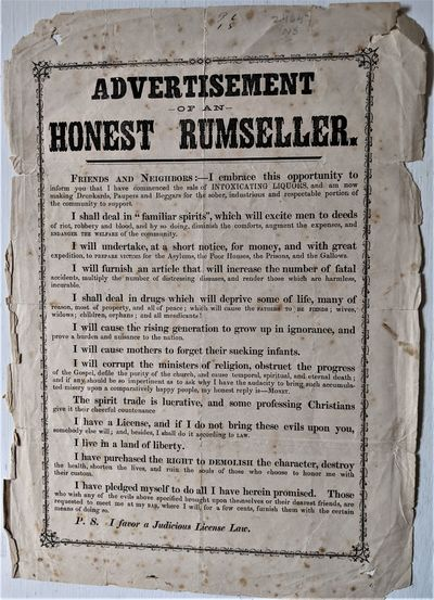1850-1870: N.p.. Folio Broadside. 320 x 225 mm., . Text printed within an ornamental border. Old...