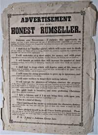 Advertisement of an Honest Rumseller. [Caption title]