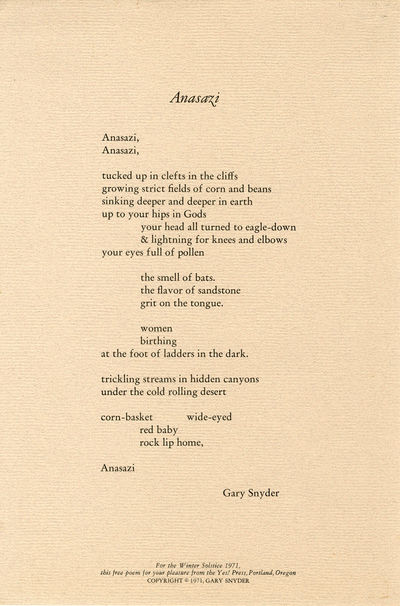Portland, OR: Yes! Press, 1971. Quarto broadside (30.5 x 20.5cm). First separate printing. One of 40...