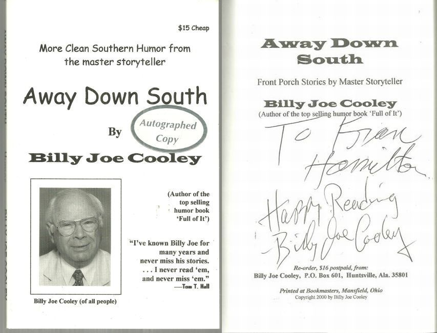 AWAY DOWN SOUTH Front Porch Stories by a Master Storyteller, Cooley, Billy Joe