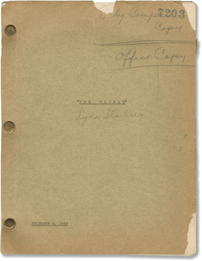 Universal City: Universal Pictures, 1943. Draft script for the 1944 Universal horror film. With holo...