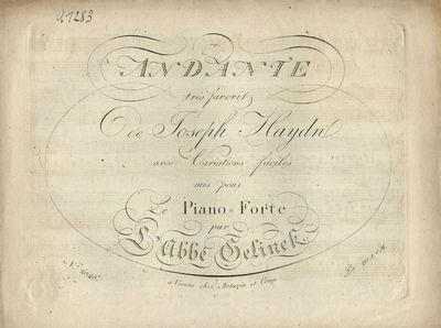 Vienne: Artaria et Comp. 2046, 1810. Oblong folio. (title), 2-5 pp. Engraved. Weinmann p. 97. RISM G...