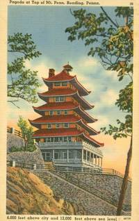 Pagoda at top of Mt. Penn, Reading, Pennsylvania, unused linen Postcard