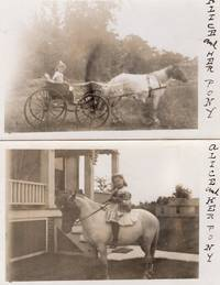 Two Real Photo Postcards of a little girl named Alicia and her pony, riding and being drawn in carriage ca. 1900