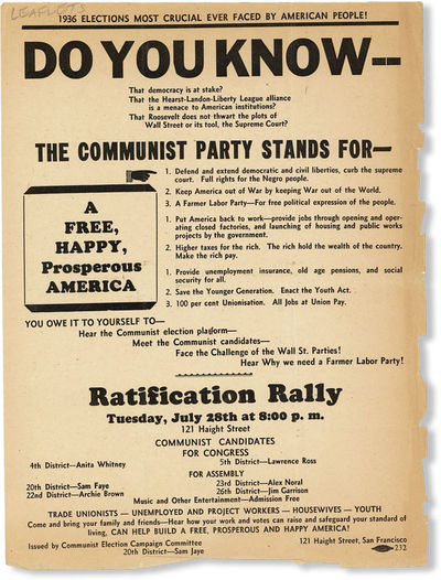 San Francisco: Communist Election Campaign Committee - 20th District Sam Jaye, . Broadside, 12