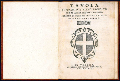 4to (195x144 mm). leaves. Collation: A-F4. With the woodcut arms of the city of Verona on the title ...