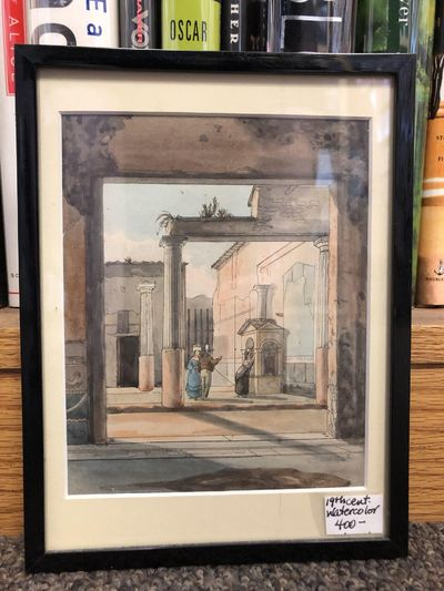 19th century. A watercolor scene of people in 19th century clothing standing in a courtyard with Gre...