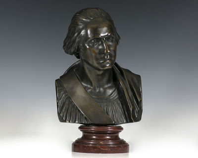 Fine bronze bust of George Washington, after the famed Houdon bust of 1785 which is considered the m...