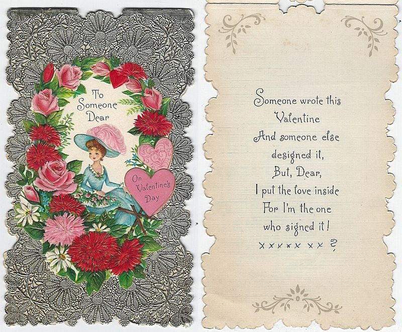 VINTAGE HALLMARK VALENTINE CARD WITH LOVELY LADY ON SILVER BACKGROUND, Valentine
