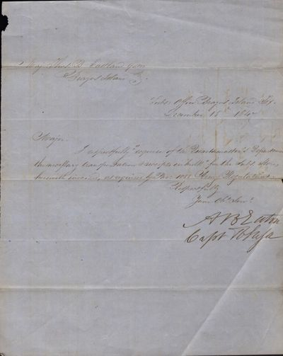 Brazos Island, Texas, 1847. Document. Very good. (2) 8