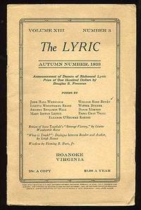 Roanoke, VA: The Lyric, 1933. Softcover. Very Good. Vol. XIII, no. 3. Very good or better in lightly...