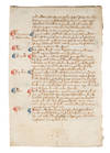 View Image 2 of 2 for Leaf from a Registrum Brevium, Probably London or Westminster, c 1350 Inventory #72504