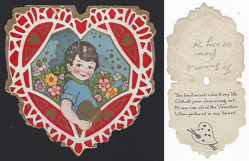 VINTAGE HEART SHAPED VALENTINE CARD WITH LITTLE BOY HOLDING GOLD HEART, Valentine
