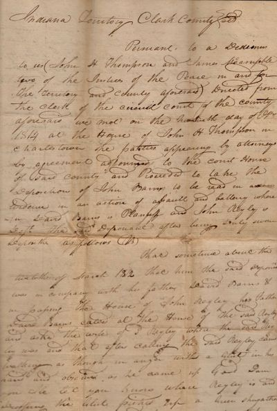 Clarke County, Indiana Territory, 1814. Document. Very good. Approx. 12.5