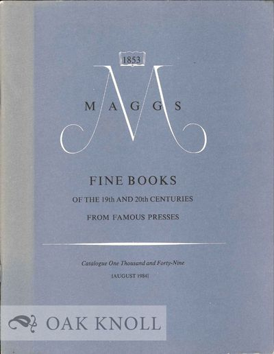 London, England: Maggs Bros, 1984. stiff paper wrappers. Maggs Brothers. 8vo. stiff paper wrappers. ...