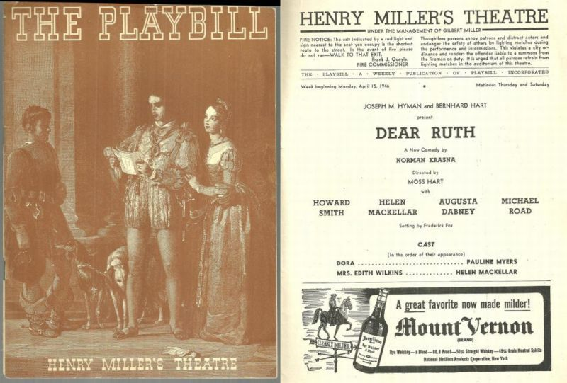 DEAR RUTH, APRIL 15, 1946, Playbill