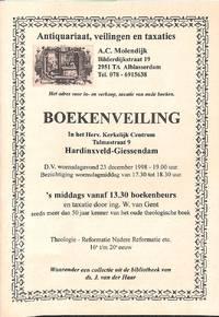 Boekenveiling 23 December 1998 : Theologie Nadere Reformatie etc. 16et/m  20e Eeuw, Waaronder Een...