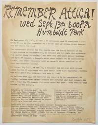 image of Remember Attica! Wed. Sept. 13th 6:00 PM. Humboldt Park [handbill]