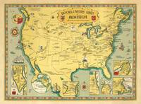 Booklovers Map of America.    A Chart of Certain Literary Geography  PICTORAL MAP Facsimile