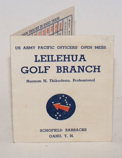 Oahu: United States Army, 1950. Single cardstock leaf, 7x4 inches, printed in blue and red inks and ...