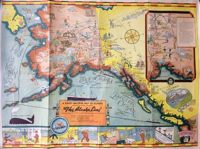 Seattle: Farwest Lithograph and Printing Co, 1939. Map. Color Lithograph. 21