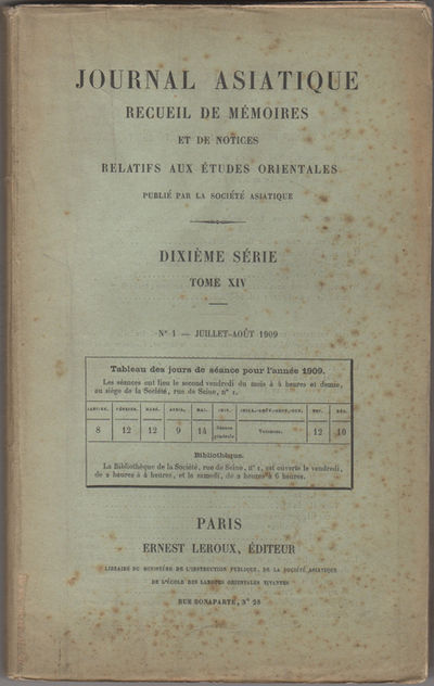 Paris: Ernest Leroux, 1909. First edition. Paper wrappers. Wrappers worn with creases, small chips, ...
