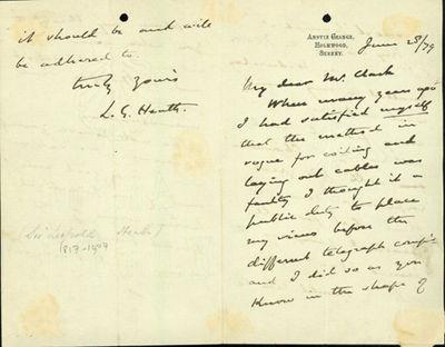 1879. Very Good. Heath, Leopold (1817-1907). A.L.s. to Latimer Clark. Holmwood, Surrey, June 25, 187...