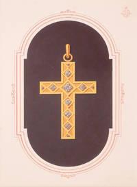 Original gouache design - crucifix with inlaid diamonds