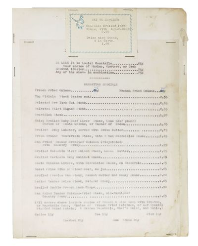 (n.p.), 1950. 1st Printing. One white leaf typed in black, one smaller card stock leaf printed in bl...