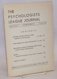 The Psychologists League journal, a bi-monthly publication of The Psychologists League, New York City.  vol. 3, no. 5, November-December 1939