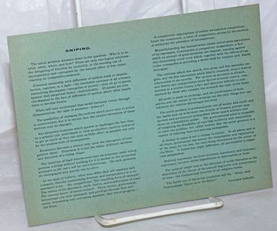 : , . Leaflet, 7x5.5 inches, printed on one side only, lightly toned at edges else very good. Only o...