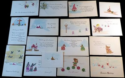 Cards. Near Fine. 16 different holiday cards, most approximately 5.25