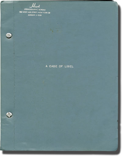 New York: Roger L. Stevens / Joel Schenker, 1963. Two draft revisions of the script for the 1963 pla...
