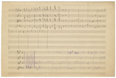 Oblong folio (175 x 264 mm). 30 measures in total, notated on both sides of the leaf, the initial 13...
