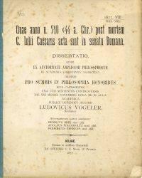 Quae anno u. 710 (44 a.Chr.) post mortem C. Julii Caesaris acta sint in senatu Romano.