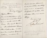 image of Autograph Letter Signed to his friend ALLCHIN (Sir George Henry, 1820-1896, Admiral, Hydrographer to the British Admiralty)