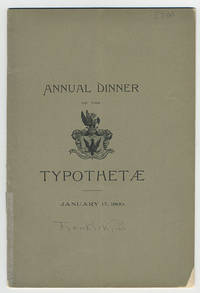 Annual dinner of the Typothetae of New York in honor of the birthday of Benjamin Franklin at Hotel Brunswick[.]  Friday, January 17, 1890.