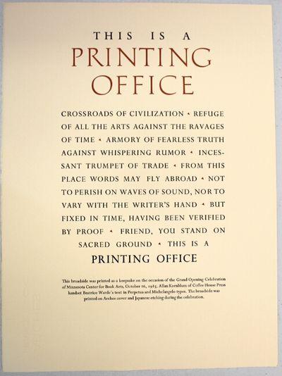 : Coffee House Press, 1985. 15