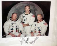NASA Official 1969 Photo Signed By the Entire Crew of  Apollo 11 in  Their Space Suits Without Helmet, the Moon in the Background