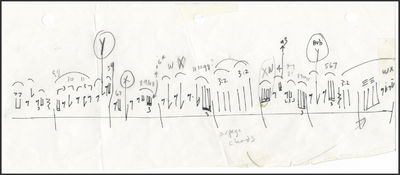 Autograph musical sketch showing rhythmic contour above a single-line staff marked with measure line...