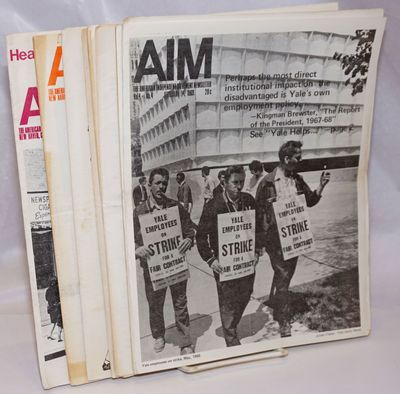 New Haven: AIM, 1970. Nine issues of the 8.5x11 inch newsletter, some folded for mailing with addres...