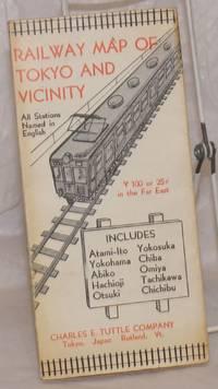 image of Railway Map of Tokyo and Vicinity. All Stations Named in English. Includes Atami-Ito, Yokohama, Abiko, Hachioji, Otsuki, Yokosuka, Chiba, Omiya, Tachikawa, Chichibu