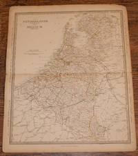"""Map of the Netherlands and Belguim (De Nederlanden & La Belgique) - disbound sheet from 1857 """"University Atlas"""