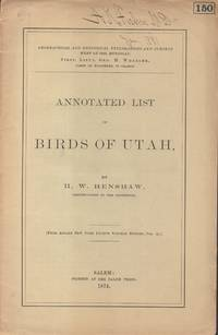 Annotated List of Birds of Utah [cover title]