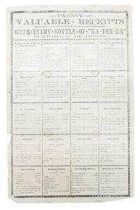 """TWENTY VALUABLE RECEIPTS Given with Every Bottle of """"KA - TON - KA"""" Purchased of the Indians"""