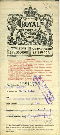 The Royal Insurance Company Limited - Victoria Branch, Melbourne - policy dated 1914 for household furniture and personal property at 27 Densham Road, Armadale