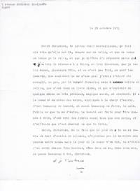 Lettre dactylographiée signée à l'écrivain Christian Maurel (Alger, 29 octobre 1971)